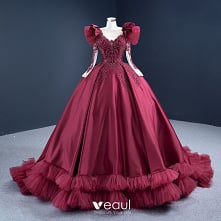 Luksusowe Burgund Satyna Taniec Sukienki Na Bal 2021