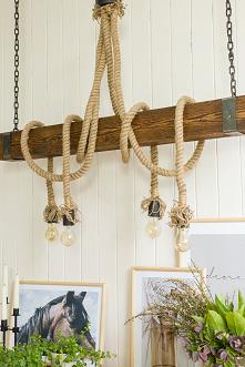 Drewniane sznurowe lampy pr...