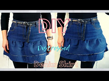 Diy | Ruffled Denim Mini Sk...