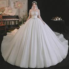 Luksusowe Seksowne Białe Suknie Ślubne 2021 Suknia Balowa Wycięciem Frezowanie Rhinestone Kótkie Rękawy Bez Pleców Trenem Królewski Ślub