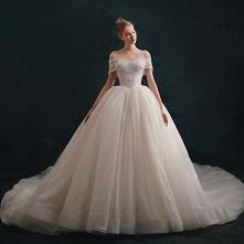 Luksusowe Kość Słoniowa Suknie Ślubne 2021 Suknia Balowa Przy Ramieniu Frezowanie Z Koronki Kwiat Kótkie Rękawy Bez Pleców Trenem Królewski Ślub