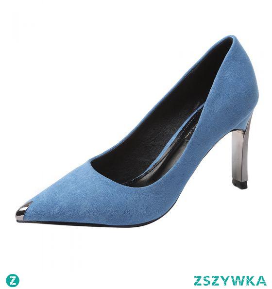 Piękne Niebieskie Biuro OL Zamszowe Czółenka 2021 8 cm Szpilki Szpiczaste Czółenka Wysokie Obcasy