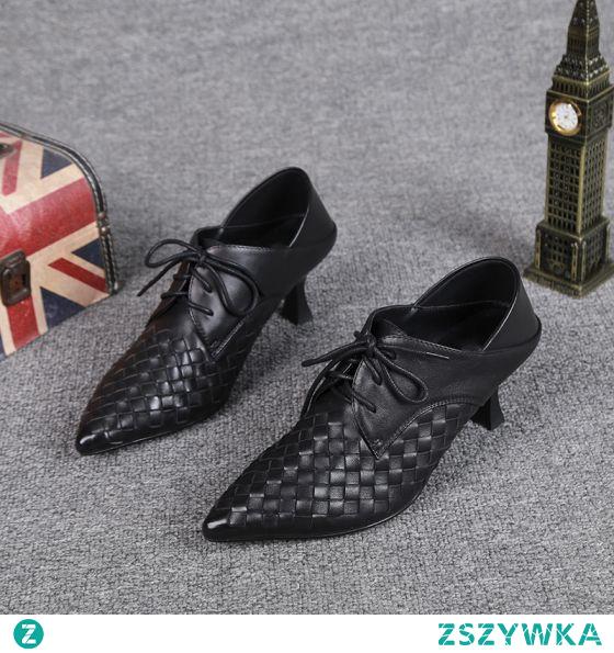 Piękne Czarne Przypadkowy Warkocz Buty Damskie 2021 Skórzany Botki 5 cm Szpilki Szpiczaste Boots Wysokie Obcasy
