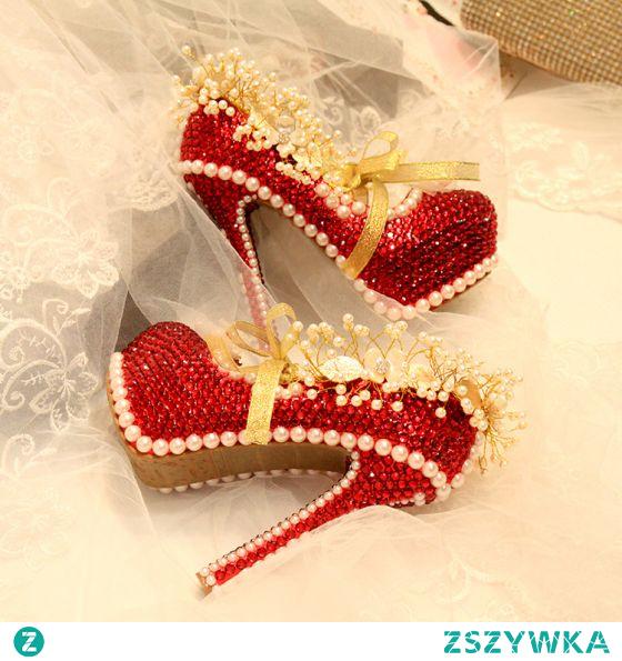 Błyszczące Moda Czerwone Perła Rhinestone Buty Ślubne 2021 Skórzany 14 cm Szpilki Szpiczaste Ślub Czółenka Wysokie Obcasy