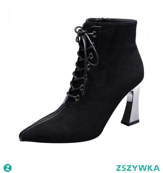 Moda Czarne Zużycie ulicy Zamszowe Botki Buty Damskie 2021 8 cm Szpilki Szpiczaste Boots Wysokie Obcasy