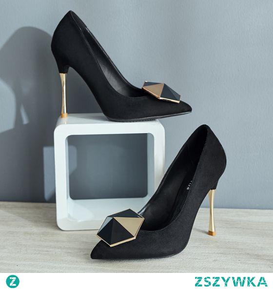 Moda Czarne Zużycie ulicy Zamszowe Czółenka 2021 10 cm Szpilki Szpiczaste Czółenka Wysokie Obcasy