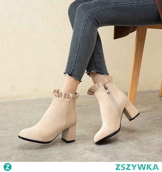 Moda Beżowe Zużycie ulicy Zamszowe Buty Damskie 2021 7 cm Grubym Obcasie Botki Okrągłe Toe Boots Wysokie Obcasy