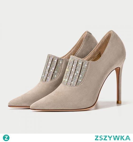 Moda Uroczy Khaki Wieczorowe Rhinestone Zamszowe Buty Damskie 2021 Skórzany Botki 10 cm Szpilki Szpiczaste Boots Wysokie Obcasy