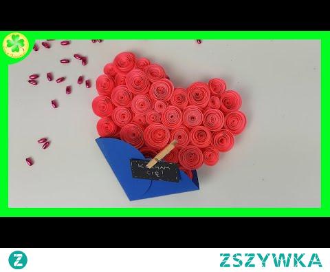 Jak zrobić Serce z zawijanych różyczek - kartka walentynkowa DIY (Tutorial)
