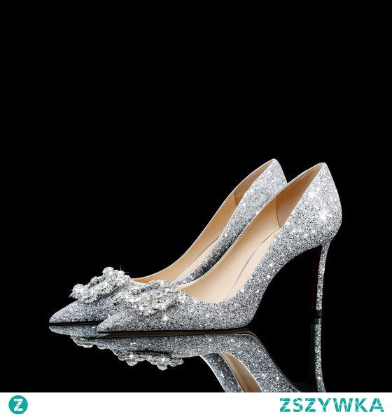Błyszczące Srebrny Cekinami Rhinestone Cekiny Buty Ślubne 2021 Skórzany 8 cm Szpilki Szpiczaste Ślub Czółenka Wysokie Obcasy