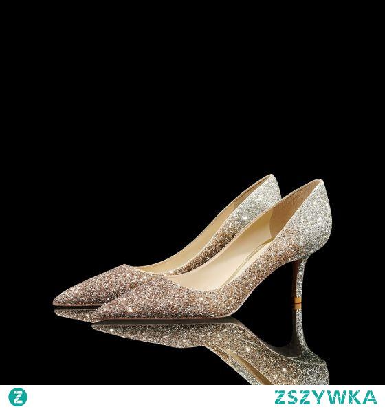 Uroczy Błyszczące Złote Cekiny Buty Ślubne 2021 Skórzany 8 cm Szpilki Szpiczaste Ślub Czółenka Wysokie Obcasy