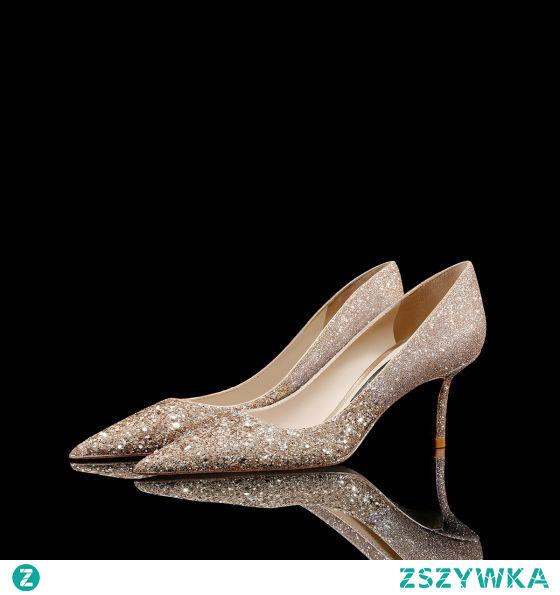 Błyszczące Złote Cekiny Skórzany Buty Ślubne 2021 8 cm Szpilki Szpiczaste Ślub Czółenka Wysokie Obcasy