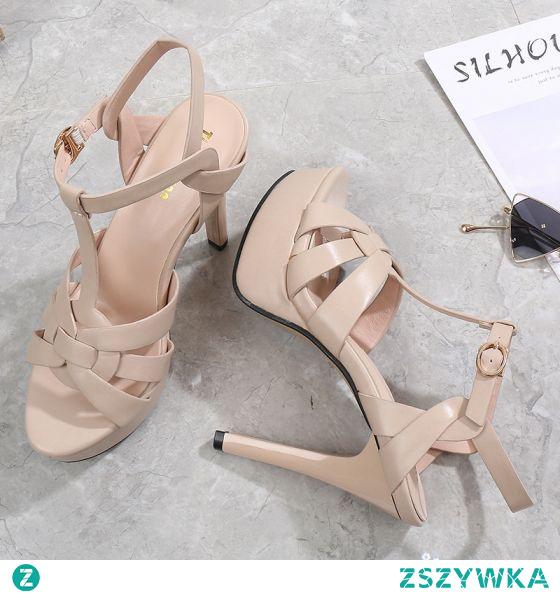 Moda Rzymski Beżowe Zużycie ulicy Sandały Damskie 2021 11 cm Szpilki T-Bar Peep Toe Sandały Wysokie Obcasy