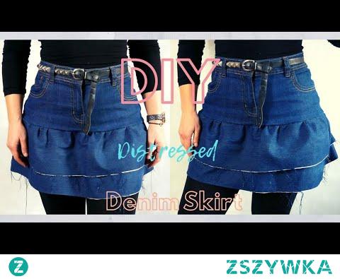 Diy | Ruffled Denim Mini Skirt | High Waist | Distressed Raw Edge
