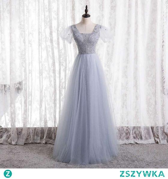 Uroczy Srebrny Sukienki Na Bal 2021 Princessa Frezowanie Cekiny Kwadratowy Dekolt Rękawy z Kapturkiem Bez Pleców Długie Sukienki Wizytowe