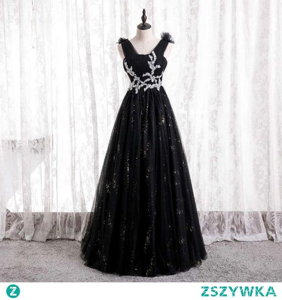 Piękne Czarne Sukienki Na Bal 2021 Princessa V-Szyja Wzburzyć Rhinestone Cekiny Długie Bez Rękawów Bez Pleców Sukienki Wizytowe