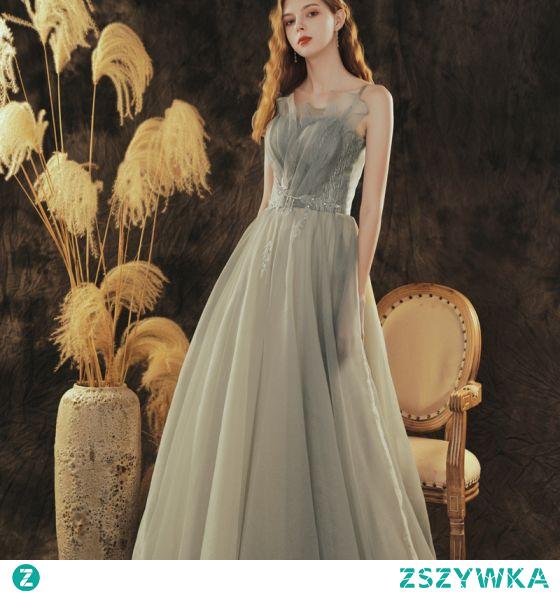 Stylowe / Modne Szary Zielony Sukienki Dla Druhen 2021 Princessa Spaghetti Pasy Bez Rękawów Bez Pleców Długie