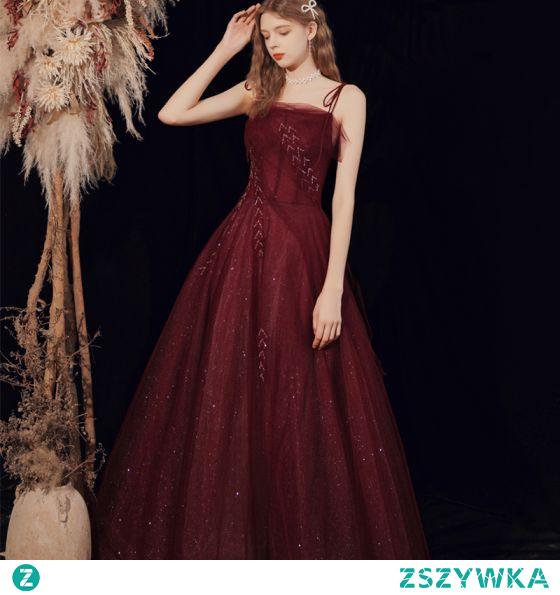 Seksowne Burgund Sukienki Wieczorowe 2021 Frezowanie Cekiny Tiulowe Spaghetti Pasy Bez Rękawów Bez Pleców Princessa Długie Wieczorowe Sukienki Wizytowe