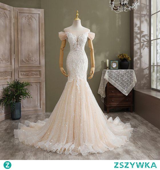 Seksowne Szampan Suknie Ślubne 2021 Syrena / Rozkloszowane Wycięciem Cekiny Z Koronki Kwiat Kótkie Rękawy Bez Pleców Trenem Katedra Ślub