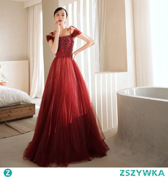 Uroczy Burgund Sukienki Wieczorowe 2021 Princessa Spaghetti Pasy Frezowanie Cekiny Bez Rękawów Bez Pleców Długie Wieczorowe Sukienki Wizytowe