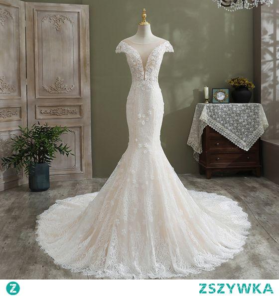 Uroczy Białe Syrena / Rozkloszowane Suknie Ślubne 2021 Wycięciem Perła Z Koronki Kwiat Rękawy z Kapturkiem Trenem Kaplica Ślub