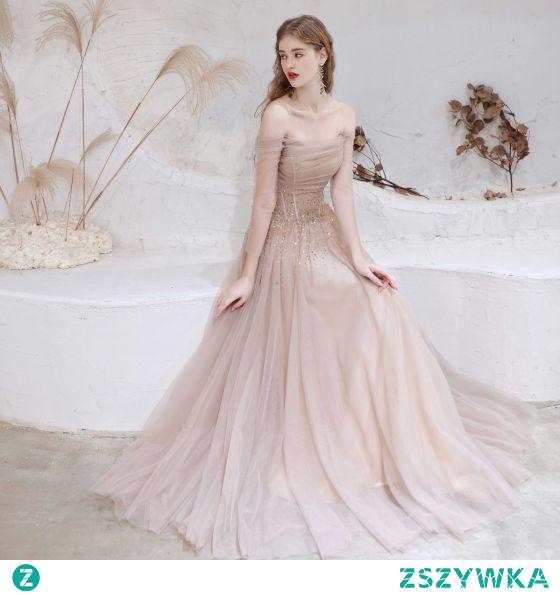 Uroczy Rumieniąc Różowy Sukienki Wieczorowe 2021 Princessa Przy Ramieniu Frezowanie Gwiazda Cekiny 3/4 Rękawy Bez Pleców Długie Sukienki Wizytowe
