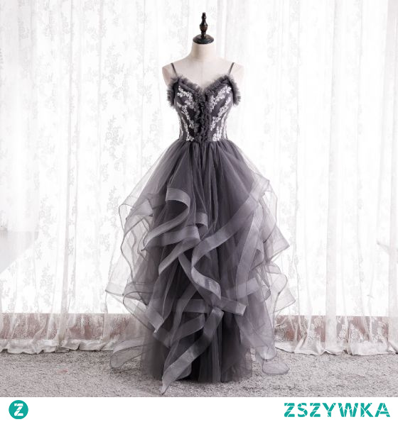 Moda Szary Wzburzyć Sukienki Na Bal 2021 Princessa Spaghetti Pasy Frezowanie Cekiny Bez Rękawów Bez Pleców Długie Bal Sukienki Wizytowe