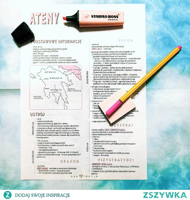 notatka z historii - Ateny #szkoła #notatka #nauka #matura #historia #egzaminósmoklasisty