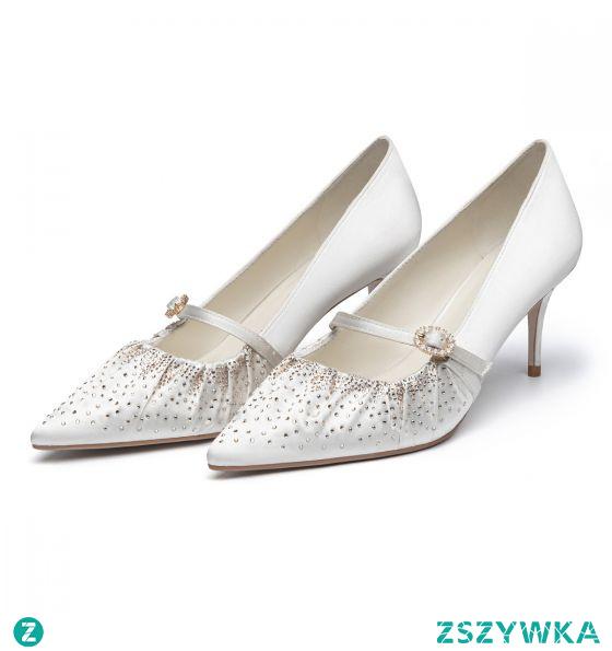 Eleganckie Białe Ślub Rhinestone Satyna Buty Ślubne 2021 7 cm Szpilki Szpiczaste Czółenka Wysokie Obcasy