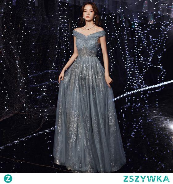Uroczy Ciemnoniebieski Sukienki Wieczorowe 2021 Princessa Przy Ramieniu Cekinami Cekiny Bez Rękawów Bez Pleców Długie Wieczorowe Sukienki Wizytowe