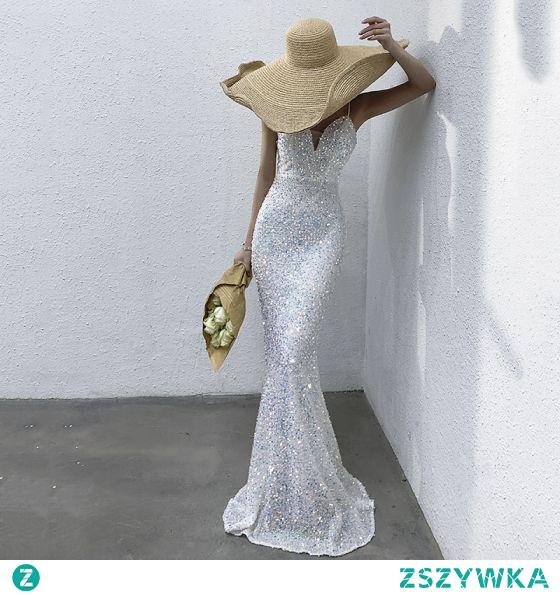 Błyszczące Seksowne Kość Słoniowa Cekiny Sukienki Wieczorowe 2021 Syrena / Rozkloszowane Spaghetti Pasy Bez Rękawów Bez Pleców Długie Wieczorowe Sukienki Wizytowe