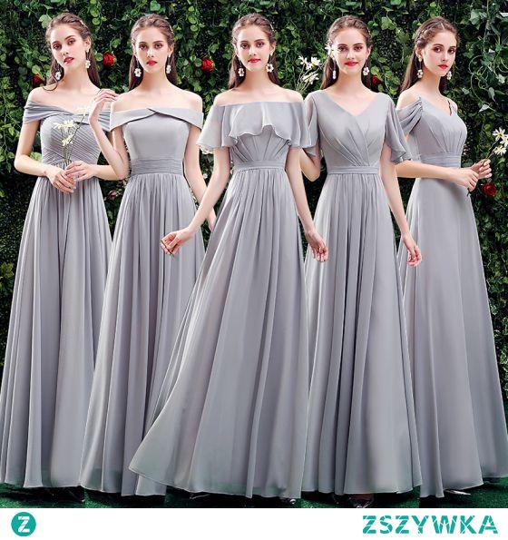 Proste / Simple Szary Sukienki Dla Druhen 2021 Princessa Przy Ramieniu Kótkie Rękawy Bez Pleców Długie Sukienki Na Wesele