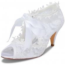 Piękne Białe Satyna Z Koron...
