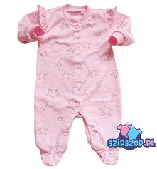 Różowy pajacyk dla dziewczynki niemowlaka z kolekcji wiosennej