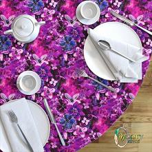 Okrągły obrus – wzór: Wielobarwny wzór kwiatowy - seria 2 - WzoryOzdobne - dostepny na spoonflower.com   Round Tablecloth – design Multicoloured floral pattern - series 2 by Wzo...