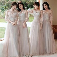 Moda Różowy Perłowy Sukienk...
