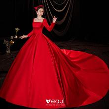 Piękne Czerwone Satyna Sukn...