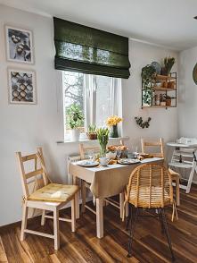 Wiosenna wersja kuchni/jadalni od Nasze Domowe Pielesze z użyciem produktów: - zielona roleta rzymska w materiale Domowa Ostoja DO35 - póleczka ścienna Grażynka - lniany obrus i...