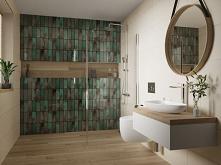 Zielona cegiełka na ścianie i drewnopodobna podłoga.
