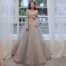 Moda Szary Złote Sukienki N...