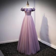 Eleganckie Fioletowe Sukien...