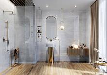 Paradyż Silves - łazienka glamour z drewnopodobną podłogą