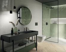 Nowoczesna łazienka w zieleni i drewnie w kolekcji Paradyż Feelings.