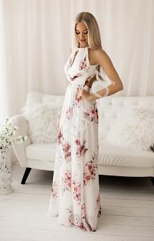 Fenomenalna sukienka w kwiaty. Szyfonowa długa sukienka z odkrytymi plecami. Suknia na wesele, sukienka dla druhny, sukienka na letnie przyjęcia lejdi.pl