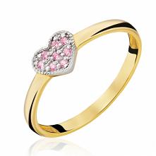Złoty Pierścionek Serce z różowych cyrkonii