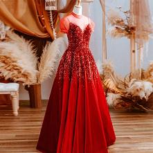 Vintage Czerwone Cekiny Suk...