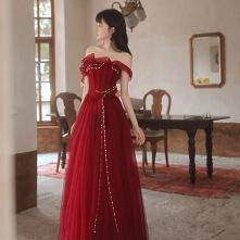 Moda Burgund Sukienki Wiecz...