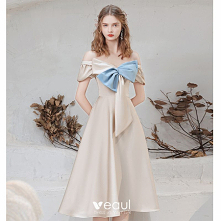 Moda Szampan Kokarda Sukien...