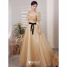 Moda Żółta Spleciona Sukien...