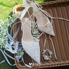 Piękne Białe Koronkowe Kwia...